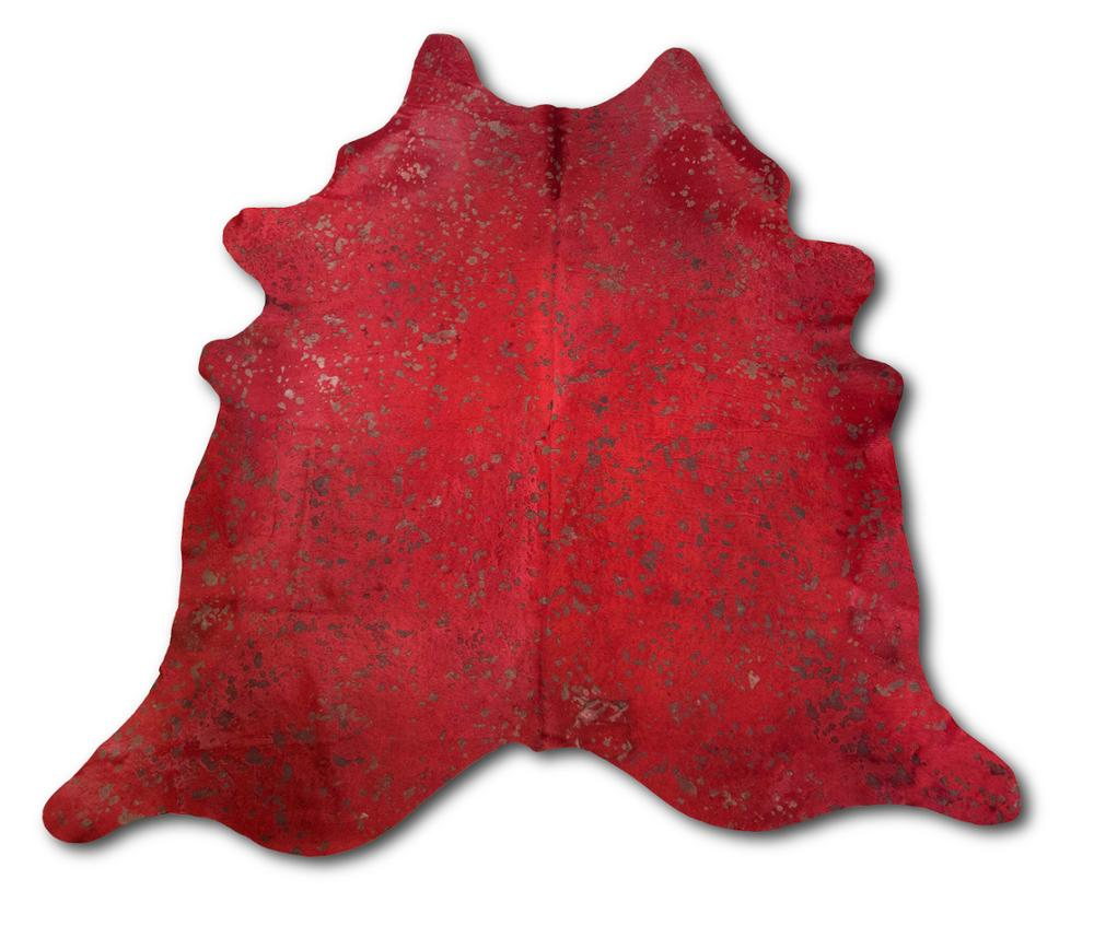 Zerimar Natural Cowhide Rug Tinted Red   Size: 94x90 In   Area Rugs For Living Room   Area Rugs Living Room