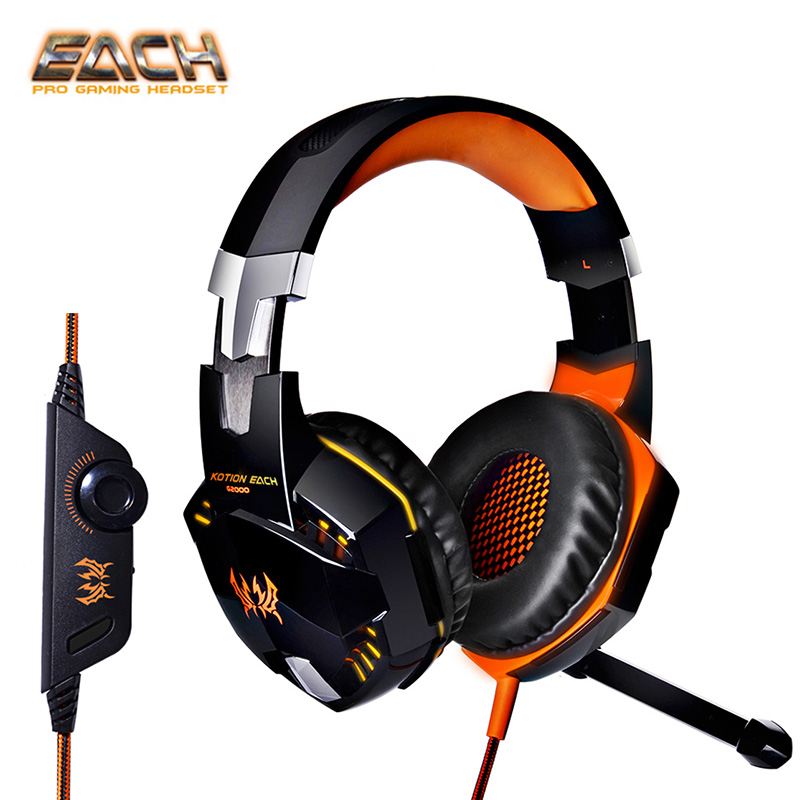 Kotion each g2000 Professional LED Deep Bass Gaming Headphones USB Game Computer Headset Stereo Over-Ear with Microphone for PC super bass gaming headphones with light big over ear led headphone usb with microphone phone wired game headset for computer pc