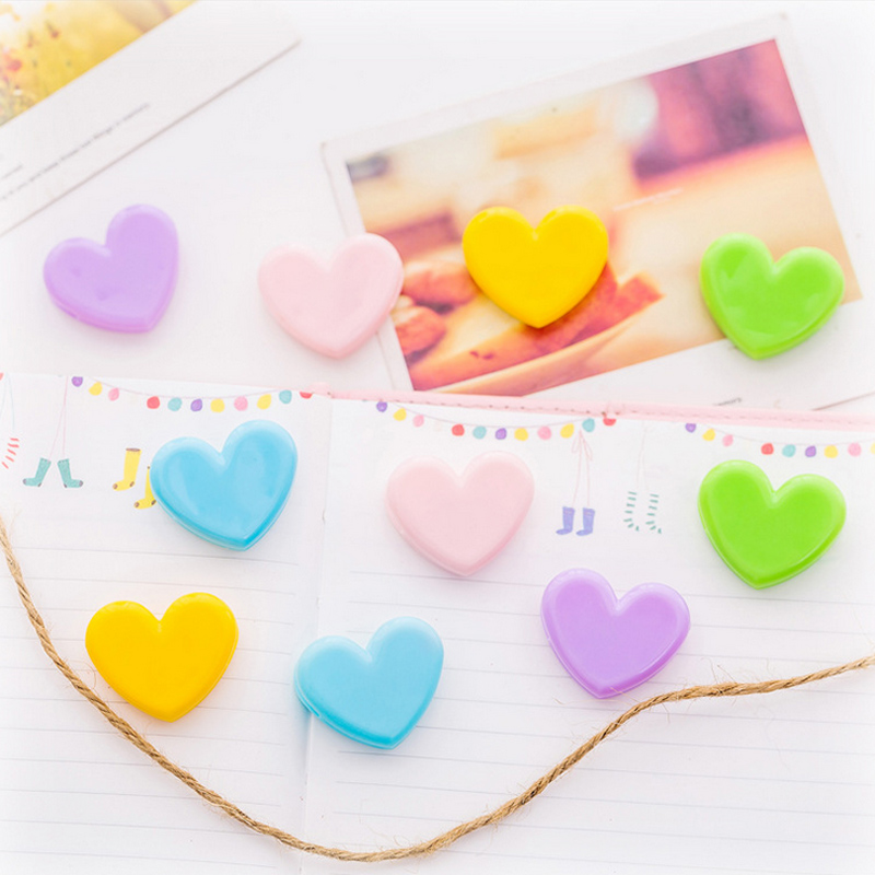 5 Pcs/Lot Lovely Colorful Heart Paper Clips File Clip Organizer Papelaria Kawaii Stationery Office School Supplies
