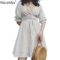 NiceMix Sexy V Neck Hollow Out Lace Dress Women Half Sleeve Tie Up Autumn Dress Female Casual Button Winter White Dress Vestido