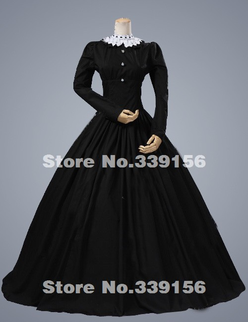Brand New Elegant Black Classical Long Sleeve Vintage Renaissance Gothic Victorian Ball Gown Civil War Victorian Dresses