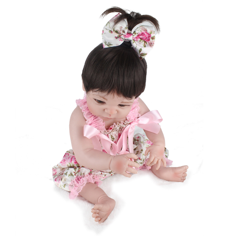 55cm/22'' Handmade Lifelike Reborn Baby Doll Girls Full Body Vinyl Silicone with Pacifier Toy Collection 2018 new arrivals 22 soft vinyl silicone baby doll reborn 55cm with magnet pacifier cute monkey plush toys for girls mini doll