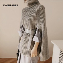 Danjeaner Knitted Turtleneck Cloak Sweater Women Camel Casual Pullover Autumn Winter Streetwear Sweaters and Pullovers