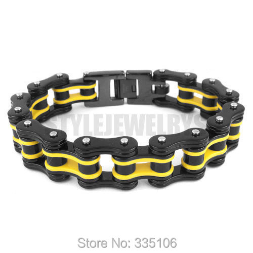 Free shipping! Yellow & Black Heavy Motor Biker Bracelet Stainless Steel Jewelry Bicycle Chain Men's Bracelet SJB0260