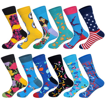 LIONZONE Newly 12Pairs/Lot Casual Fashion Combed Cotton for Men Streetwear Hip Hop Personality Designer Funny Happy Socks 4pair lot combed cotton girl