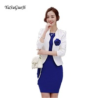 New 2017 Close Fitting Hip Dress Slim Fit Office Blazers For Women Professional Work Outfits Ladies