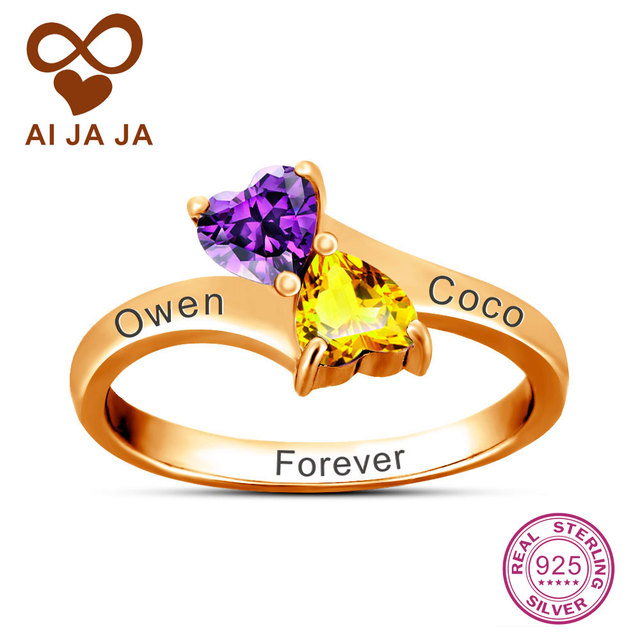 253af4f8d7 AIJAJA Personalized Name & Birthstone Ring Rose Gold Color Double Heart  Rings, Real 925 Sterling