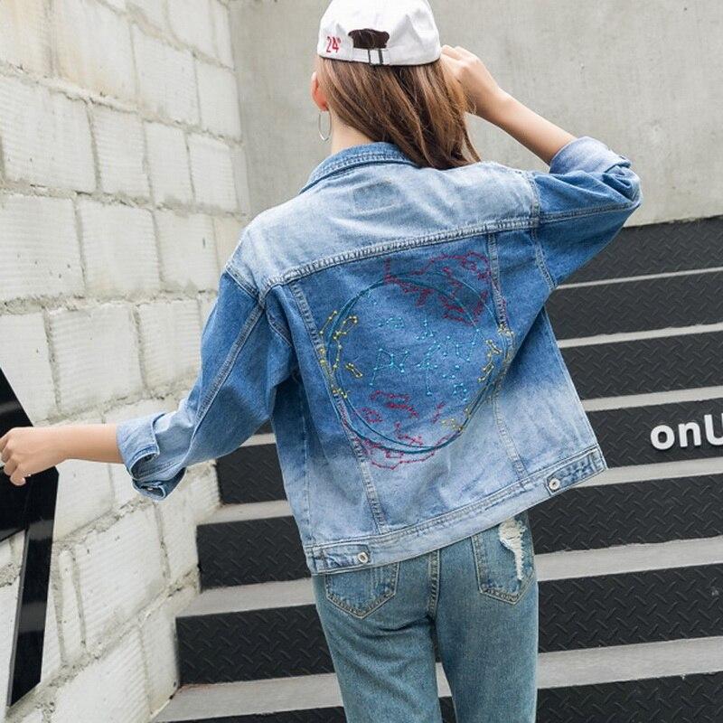 Stitching Denim font b Women b font Coats 2017 Spring Fall New Blue Jeans Vintage font