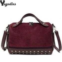 New Arrival Nubuck PU Leather Handbags for Women Casual Female Shoulder Bag Tote Crossbody Bag Ladies Large Rivet Messenger Bag