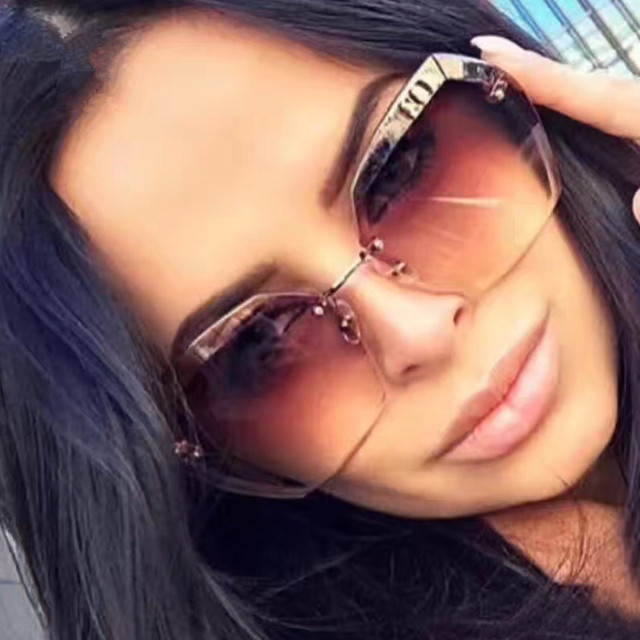 2a77293afe Luxury Vintage Rimless Sunglasses Women Brand Designer Oversized Retro  Female Sunglass Sun Glasses For Women Lady