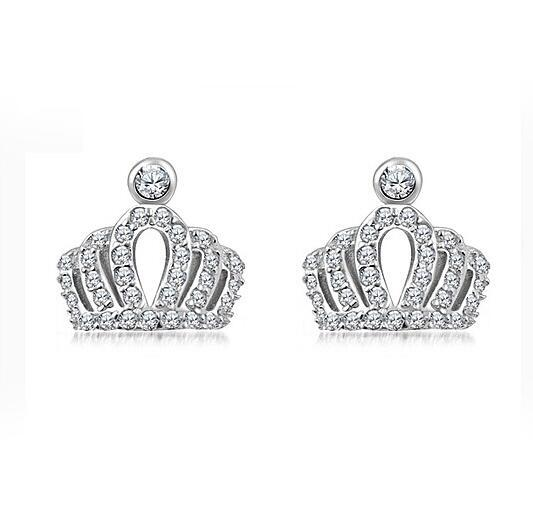 S925 esterlina-prata-jóias de Moda hot Crown Mosaic zircon Retro sutd brincos boucle d'oreille femme para as mulheres presente