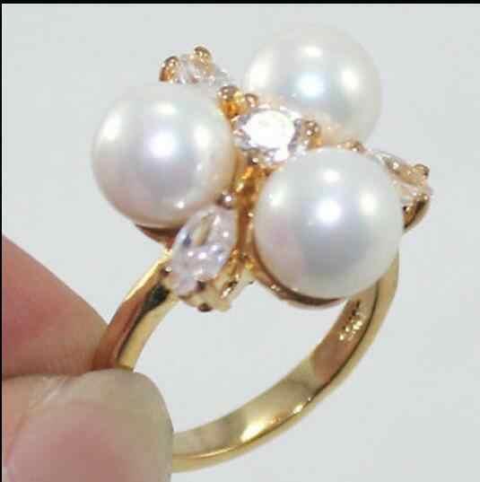 แฟชั่น 18 K Gold Plated 8 มม. South Sea Shell Pearl/หยกแหวนผู้หญิง