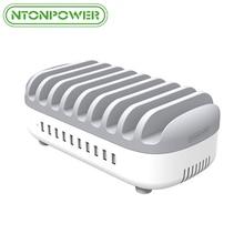 NTONPOWER 10 Ports USB Ladestation 5 V 2.4A 120 Watt USB Smart Adapter Desktop Bus Ladestation mit Halter für Samsung Xiaomi