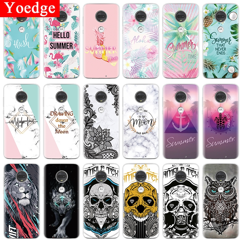 For Motorola Moto G7 Power Case Soft Silicone Summer Flower Marble Clear Phone Case For Moto G7 Play G7Power Back Cover TPU Capa