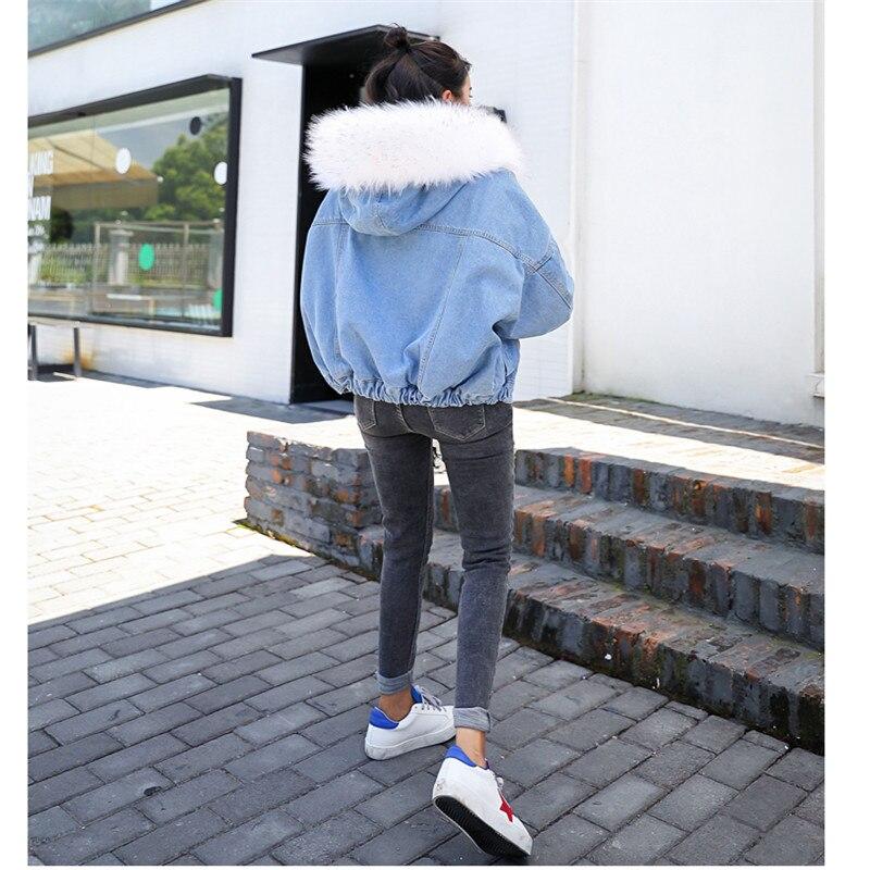 Per Pelliccia Cappuccio Delle Di Denim Donne Lana Aumentare 2019 Nuove Con Giacca white pink Gray Ispessimento Grandi Jeans Dimensioni Del Collo Caldi Faux Zp64q7