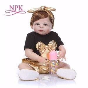 Image 3 - Npk 56cm boneca de silicone de corpo inteiro, renascida, vida real, princesa, bebê, boneca para presente do dia das crianças natal gif à prova d água