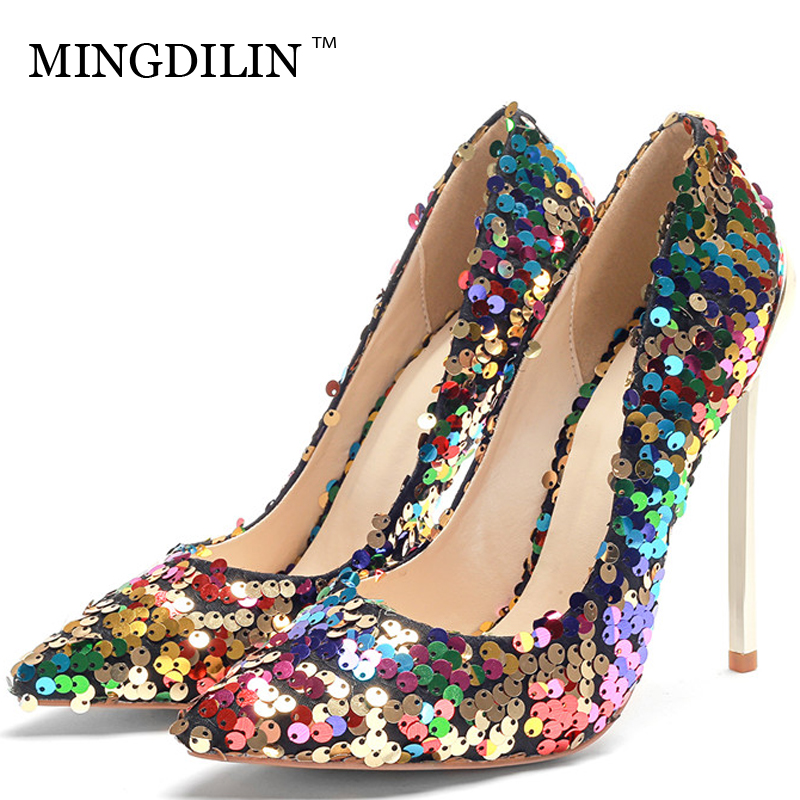 MINGDILIN Women's High Heels Shoes Sexy Bling Plus Size 33 43 Woman Heel Prom Shoes Pointed Toe Wedding Party Pumps Stiletto summer bling thin heels pumps pointed toe fashion sexy high heels boots 2016 new big size 41 42 43 pumps 20161217