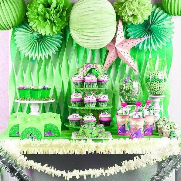 20pc Green Party Decoration Kit Paper Lanterns Fringe Garland Star Pom Poms Fans For Wedding Baby Shower Birthday Decor