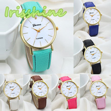 Irissshine #0111 Women watch Fashion Design Dial Leather Band Analog  Quartz Wrist Watch relogio feminino