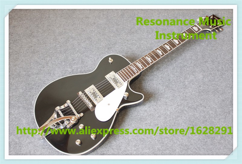 Chinese Glossy Black G6128T-GH George Harrison Signature Duo Jet Electric Guitar With Bi ...