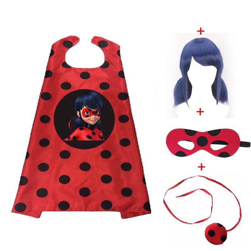 Ladybug Cosplay Cape Halloween Christmas Mask Superhero Cloak Mask Bag Wig Girl Set Marinette Costume 70*70cm Capes Suit