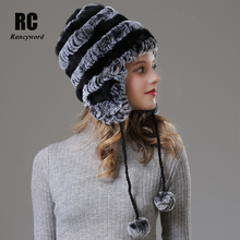 [Rancyword] Winter Hats Beanie For Women Real Rex Rabbit fur Hat Warm Ears Hat Cap High Quality Natural Fur Hat 2018 New RC1394 цена