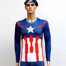 Captain America Quick Dry Anti Ultraviolet Long Sleeve T-Shirt Sweat Tight Clo Outdoor Cycling Suit Sportswear Bicycle Clothing