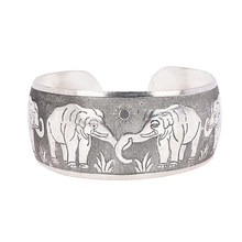 High Quality Beautiful Vintage Elephant Tortoise Printing Bracelets Wide Tibet Silver Plated Totem Cuff Bracelets Bangles(China)