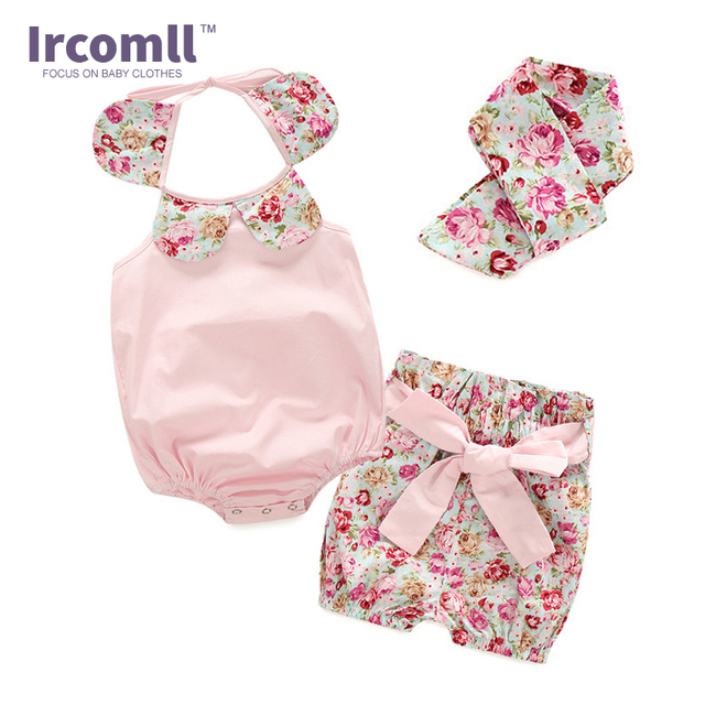 New Brand Baby Romper Girl Clothing Set  Fashion Summer Infant Jumpsuit Princess Outfits Bloomers Headband Newborn Girl Clothes