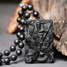 Drop Shipping Natural Obsidian GuanGong Pendant Necklace Lucky Amulet Crystal Guan Yu Fne Jewelry Gift