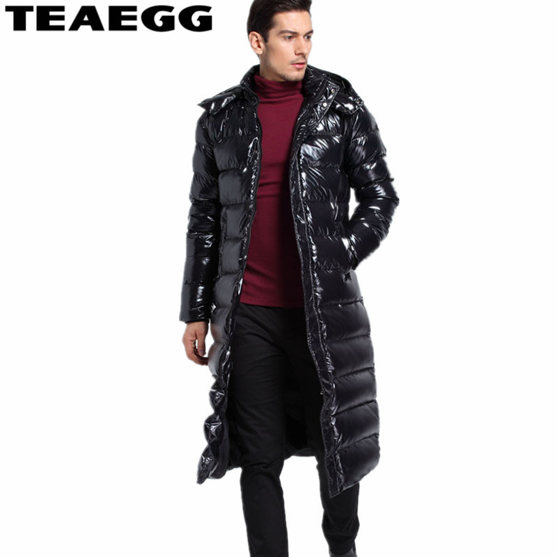 TEAEGG European And America Long Winter Jas Men Chaqueta Pluma Hombre Thick 90% White Duck Down Jacket For Men Clothing AL271