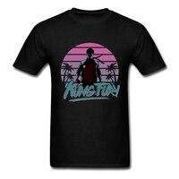 Custom T Shirt Printing Kung Fury Mens Summer Cotton Short Sleeve Tshirt 3XL
