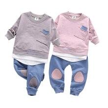 2017 Infantis Children's Spring Autumn Cotton Boys Tops And Tees Long Sleeve T Shirt +pants 2pc/set kids Clothes 1-6year цена в Москве и Питере