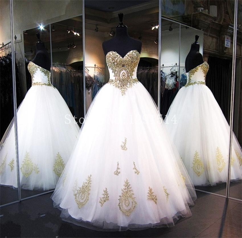 Wedding Dress White And Gold: Real Photos Sexy Sweetheart Wedding Dresses Spring 2017