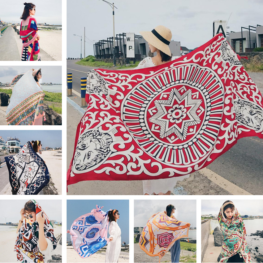 2018 New 90x180cm Twill cotton Pareo Beach Cover-Ups Women Large Beach Dress Bikini Bathing Swimwear Cover Up Sarong Wrap Scarf sweet printed self tie beach cover up for women sarong