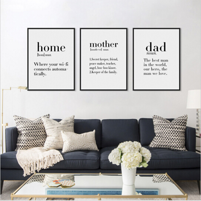 Nordic Black White Modern Minimalist Happy Home Friend Mother Dad Quotes A4 Canvas Art P ...