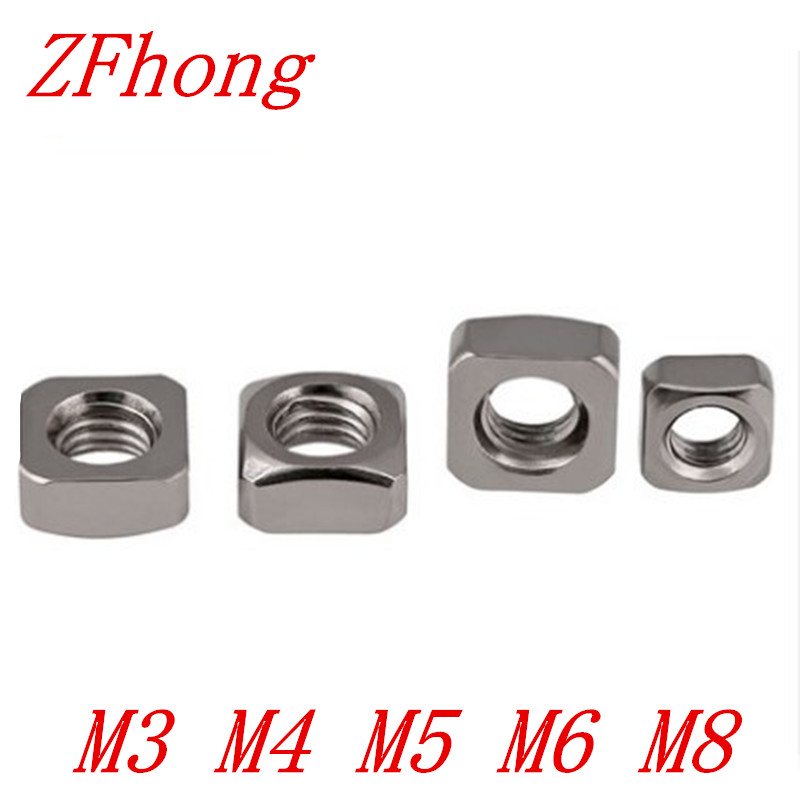50pcs/20pcs  DIN557 M3 M4 M5 M6 M8 304 Stianless Steel Square Nut