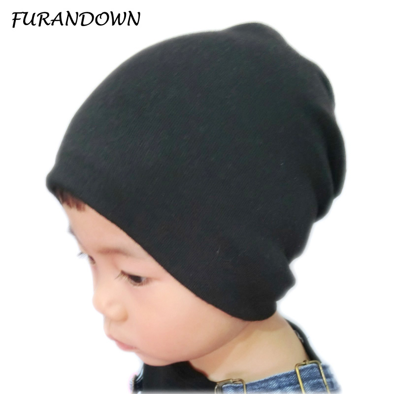 Autumn Winter Baby Children Cotton Beanie Hats Solid Color Casual Boys Girls Cap Kids skullies beanies