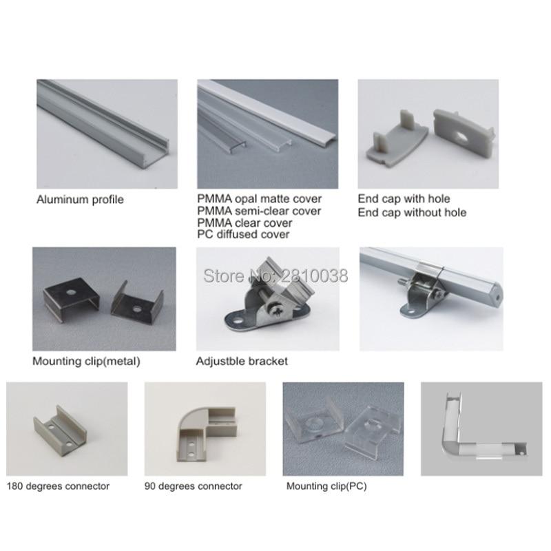 20 X 2M Sets/Lot flat aluminum profile led strip light or U-shape 8mm tall led profile aluminum for wall or floor lamps