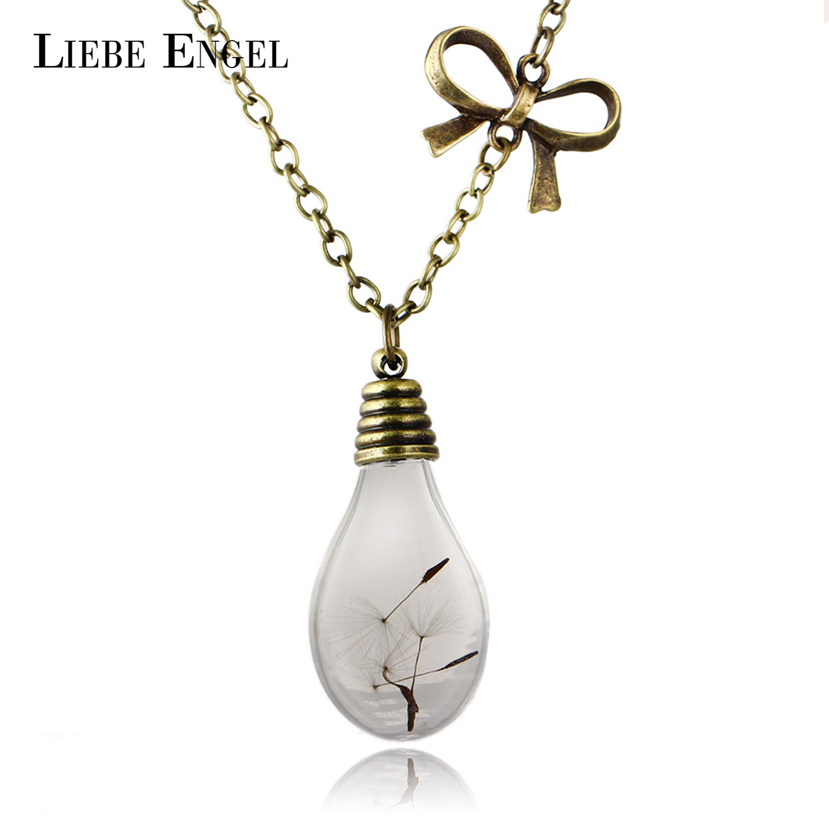 LIEBE ENGEL Hot Sale Glass Bulb Shaped Dandelion Gold Color Long Chain Necklace Dried Flower Statement Maxi Necklace for Women