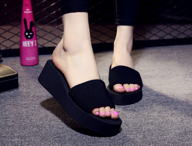 New Wedges Beach slippers Summer slides Sandals Women shoes Non-slip Thick soles Sandals