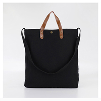 NAVO Canvas Tote Bags for Women Supermarket Eco Shopping Bag Casual Beach Handbag Black Brown Solid Canvas Bags 2019 bolsa lona