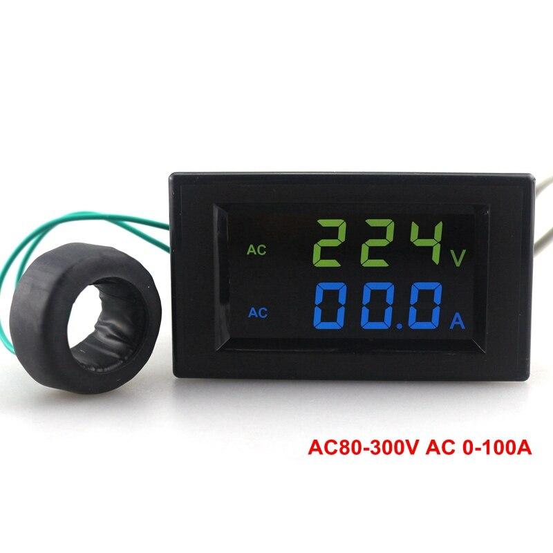 Вольтметр-амперметр переменного тока, зеленый, синий, двойной дисплей, стандартный 200-450 в переменного тока, детектор напряжения 0-а, измерите...