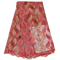 Latest Embroidery high quality african cord lace red french lace fabric of voile guipure lace fabric Diamond nigerian mesh lace