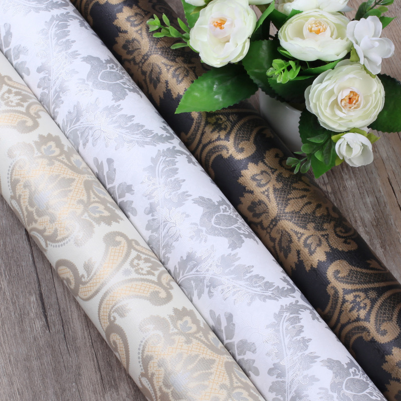 Papel pintado Floral Damasco europeo 0,6*1m para paredes papel texturizado 3D papel tapiz autoadhesivo para decoración de sala de estar PVC 3D pegatina extraíble base borde autoadhesivo impermeable patrón papel pintado borde decoración de pared