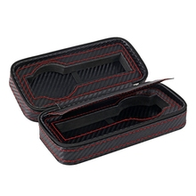 2 Slots Carbon Fibre Watch Box Bag Display Zipper Case Storage Portable Travel Holder Leather Organizer