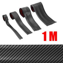 цена на Carbon Fiber Rubber Moulding Strip Soft Black Trim Bumper Strip DIY Door Sill Protector Edge Guard Car Stickers 3/5/7/10CM 1M