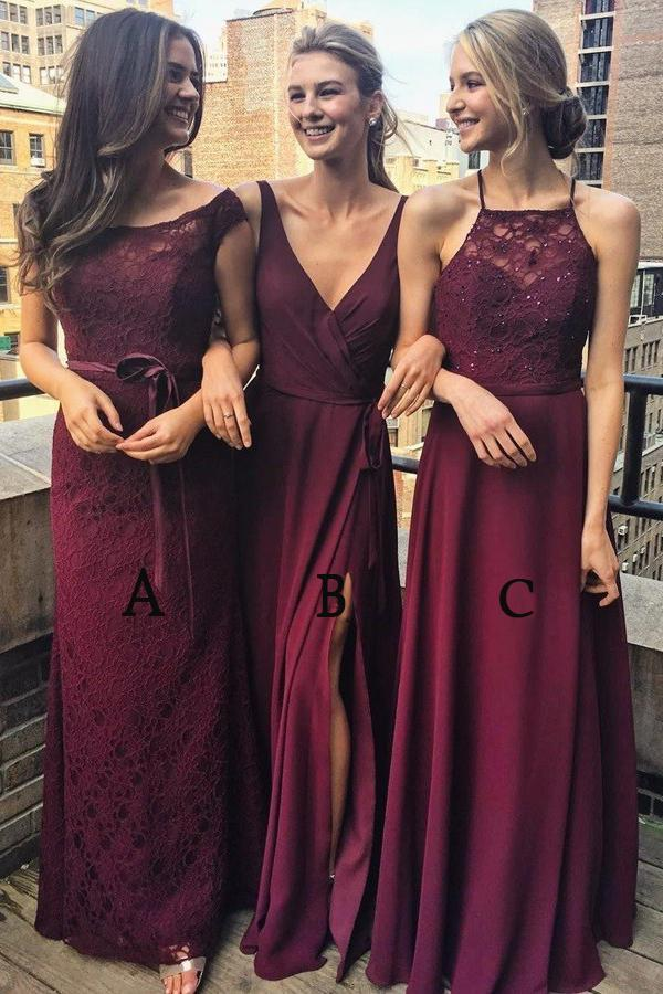 Multi Styles A-Line   Bridesmaid     Dresses   Floor-Length Maroon   Bridesmaid     Dress   with Lace