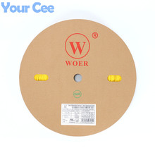 Рулон 200 м 2:1 термоусадочная трубка SLEEVING Обёрточная бумага Провода кабель желтый ul sgs 2 мм 3 мм 4 мм