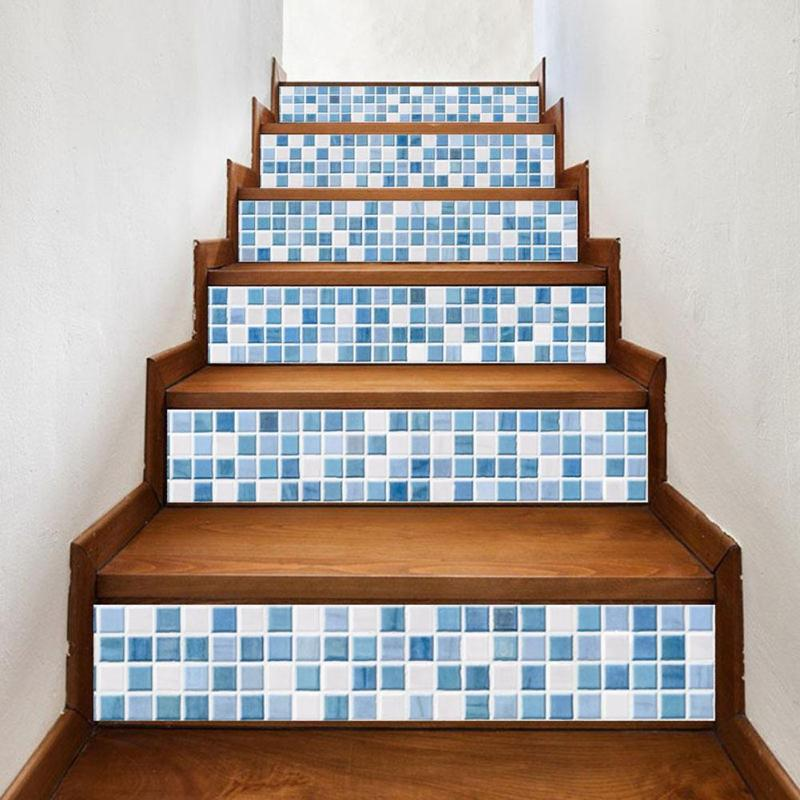 3D <font><b>Wall</b></font> Sticker DIY Stairs Decal Wallpaper Self - adhesive Ceramic Floor Stairway Stickers Geometric Pattern Home Decor 6pcs/set